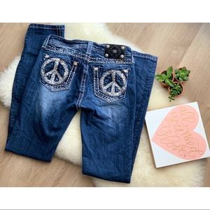 MISS ME • Girls Peace Sign Skinny Jean